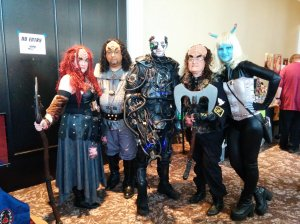 Klingons, a Borg, and an Andorian crushin' it cosplay style.